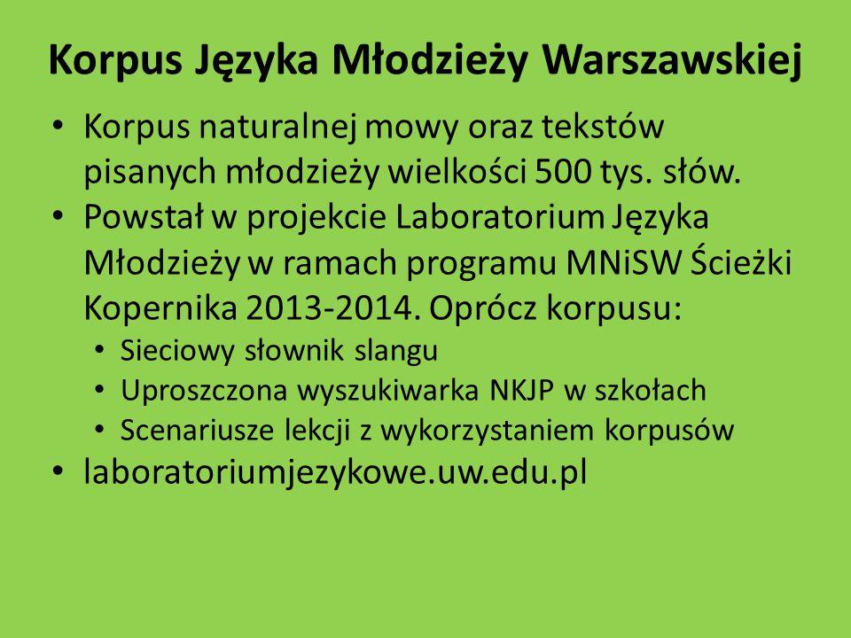 Korpus Języka Młodzieży Warszawskiej Korpus naturalnej mowy oraz tekstów pisanych młodzieży wielkości 500 tys.