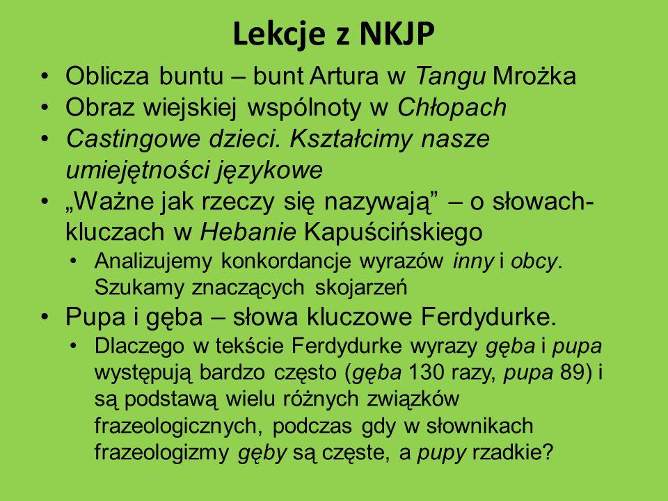 Lekcje z NKJP Oblicza buntu – bunt Artura w Tangu Mrożka Obraz wiejskiej wspólnoty w Chłopach Castingowe dzieci.