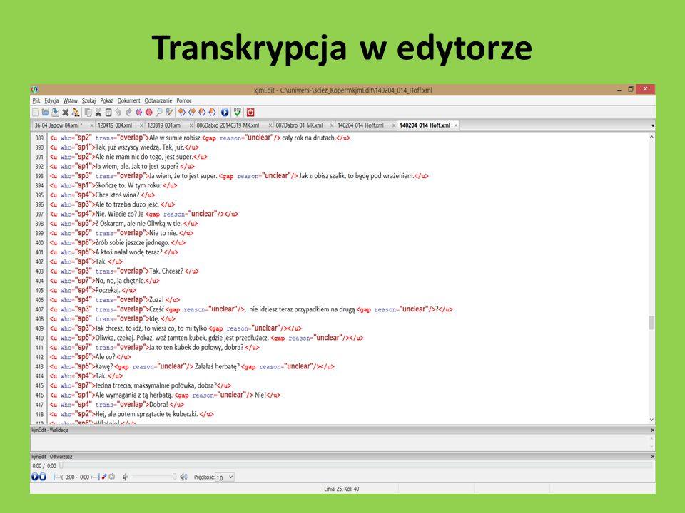 Transkrypcja w edytorze
