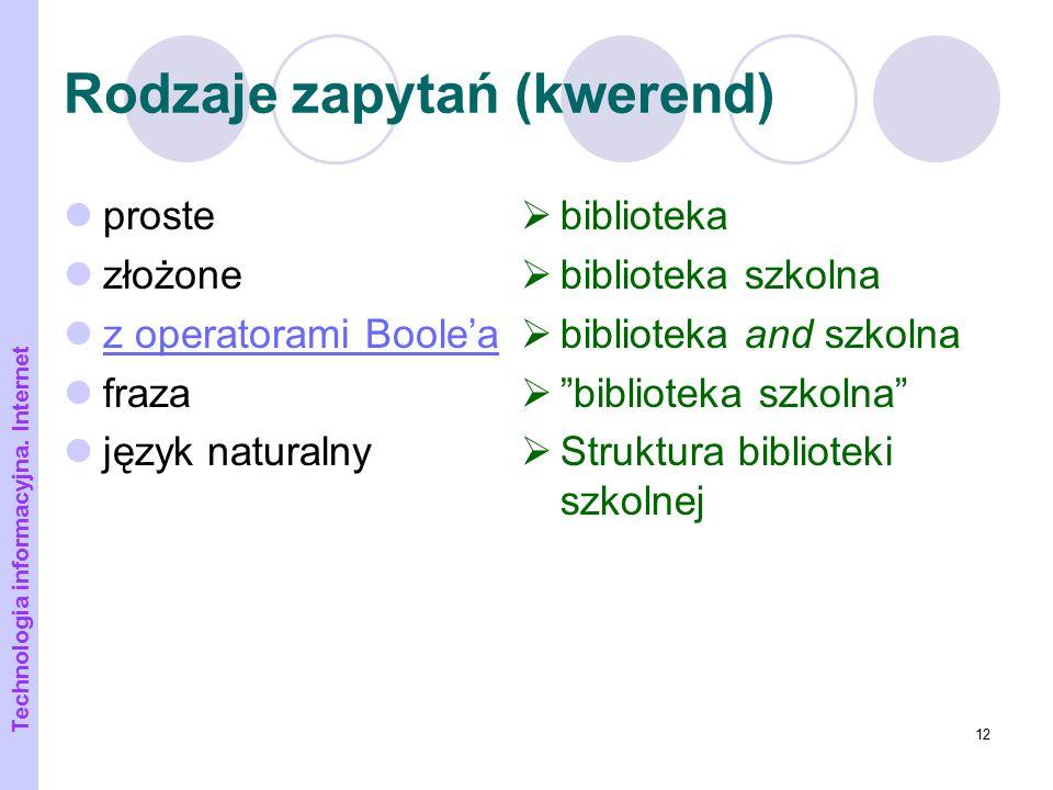 """12 Rodzaje zapytań (kwerend) proste złożone z operatorami Boole'a fraza język naturalny  biblioteka  biblioteka szkolna  biblioteka and szkolna  """""""