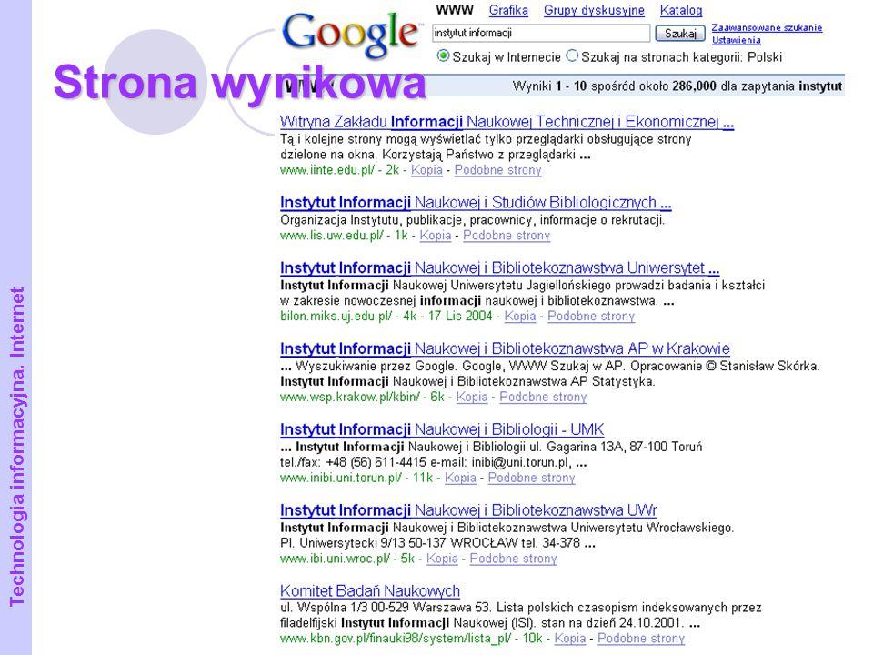 21 Strona wynikowa Technologia informacyjna. Internet