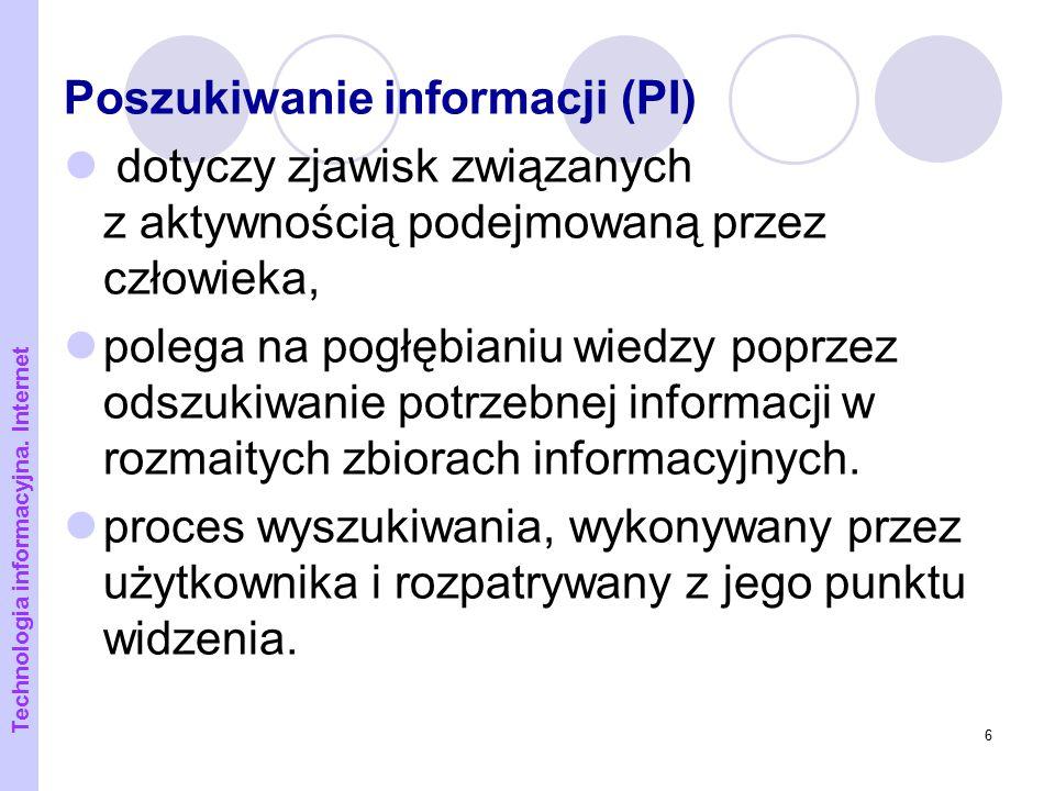7 Przeszukiwanie proces wyszukiwania realizowany przez system (program) w wyniku działania użytkownika (np.: wysłania zapytania do wyszukiwarki) Technologia informacyjna.