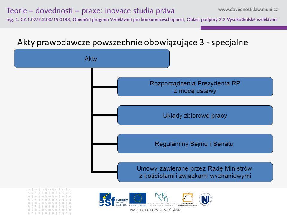 Akty prawodawcze powszechnie obowiązujące 3 - specjalne Akty Rozporządzenia Prezydenta RP z mocą ustawy Układy zbiorowe pracy Regulaminy Sejmu i Senat