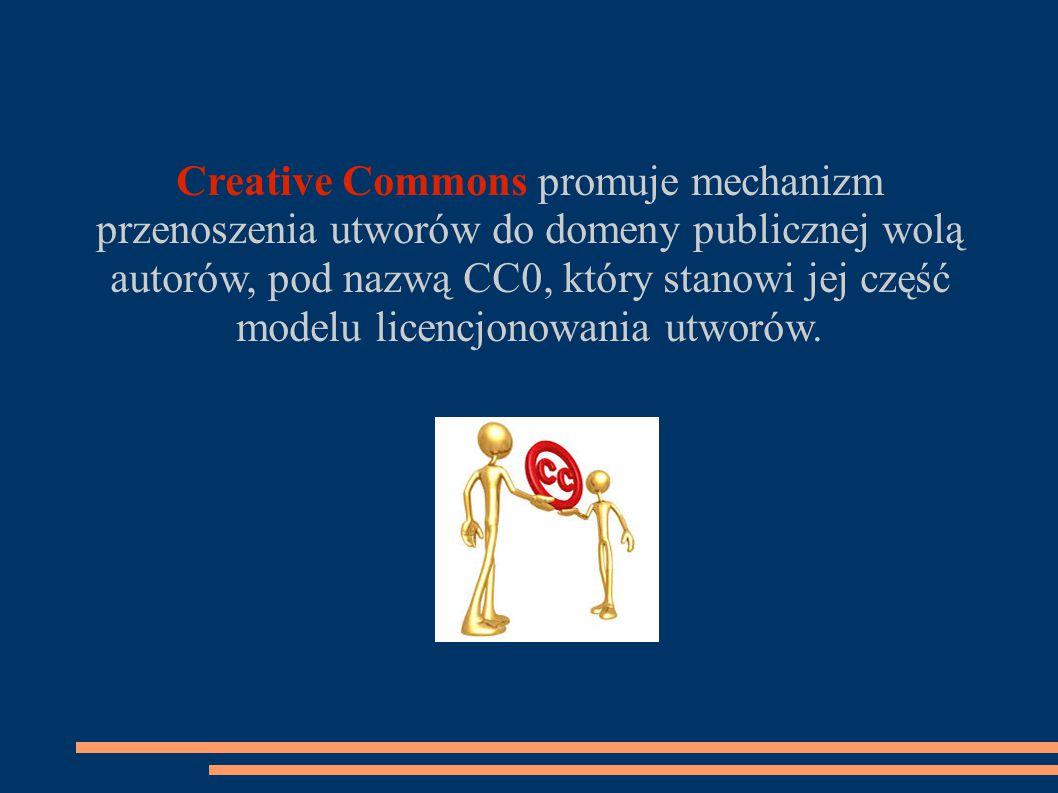 Creative Commons promuje mechanizm przenoszenia utworów do domeny publicznej wolą autorów, pod nazwą CC0, który stanowi jej część modelu licencjonowania utworów.