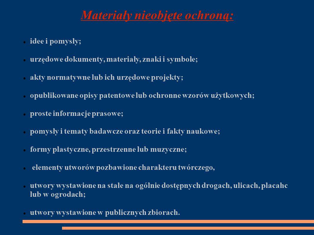Materiały nieobjęte ochroną: idee i pomysły; urzędowe dokumenty, materiały, znaki i symbole; akty normatywne lub ich urzędowe projekty; opublikowane opisy patentowe lub ochronne wzorów użytkowych; proste informacje prasowe; pomysły i tematy badawcze oraz teorie i fakty naukowe; formy plastyczne, przestrzenne lub muzyczne; elementy utworów pozbawione charakteru twórczego, utwory wystawione na stałe na ogólnie dostępnych drogach, ulicach, placahc lub w ogrodach; utwory wystawione w publicznych zbiorach.