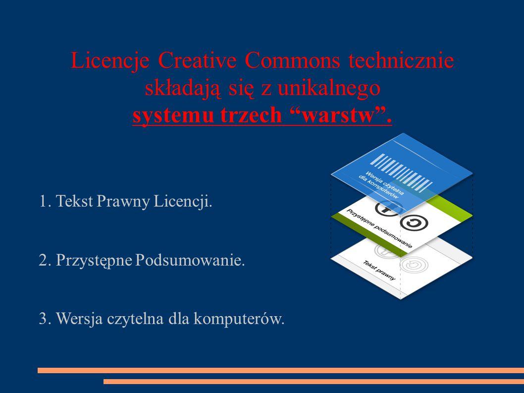 Licencje Creative Commons technicznie składają się z unikalnego systemu trzech warstw .