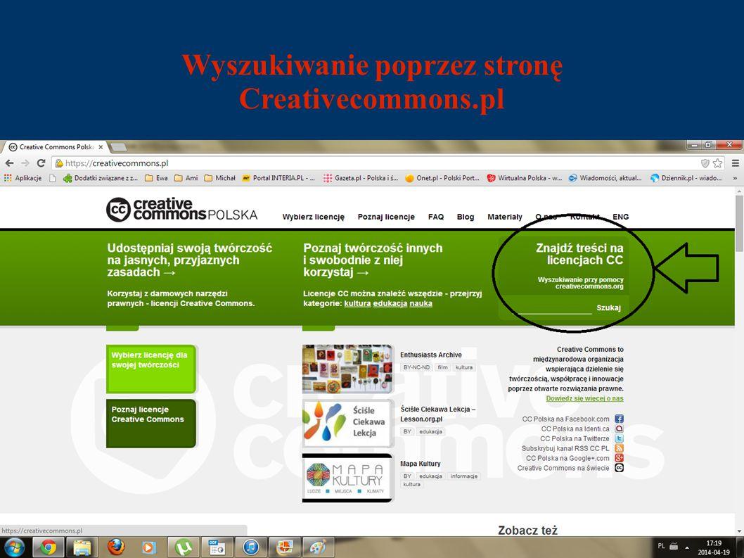 Wyszukiwanie poprzez stronę Creativecommons.pl