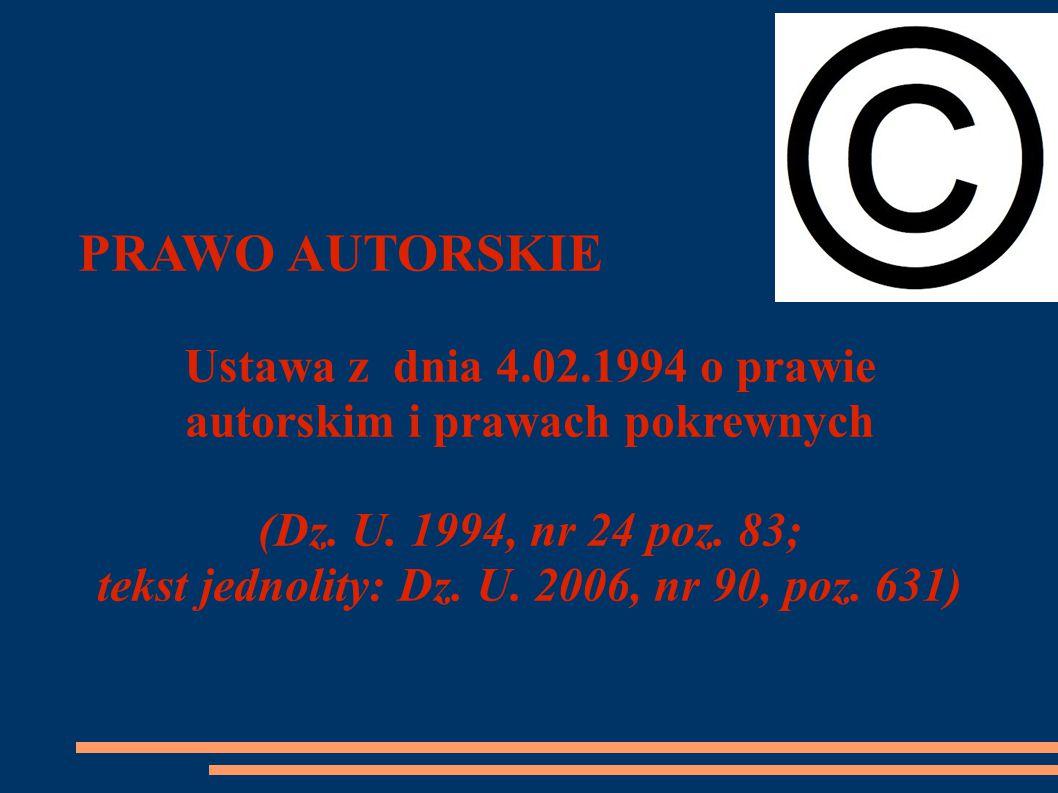 PRAWO AUTORSKIE Ustawa z dnia 4.02.1994 o prawie autorskim i prawach pokrewnych (Dz.