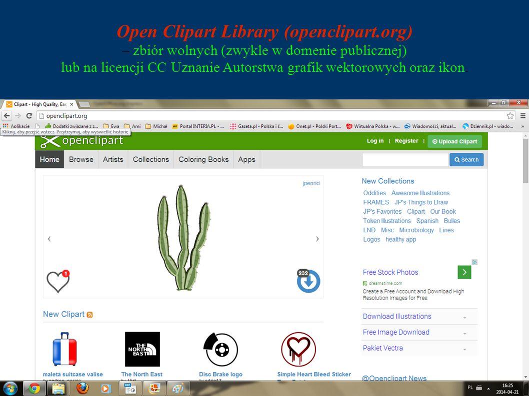 Open Clipart Library (openclipart.org) – zbiór wolnych (zwykle w domenie publicznej) lub na licencji CC Uznanie Autorstwa grafik wektorowych oraz ikon.