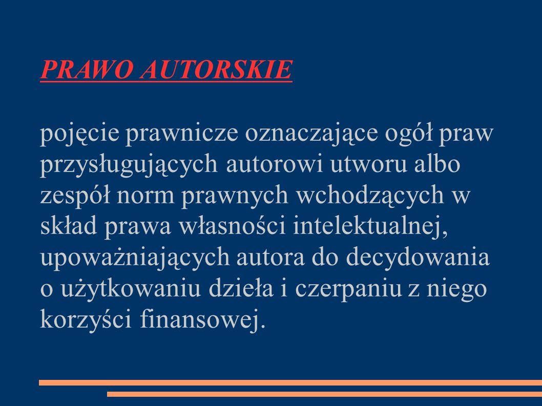 PRAWO AUTORSKIE pojęcie prawnicze oznaczające ogół praw przysługujących autorowi utworu albo zespół norm prawnych wchodzących w skład prawa własności intelektualnej, upoważniających autora do decydowania o użytkowaniu dzieła i czerpaniu z niego korzyści finansowej.