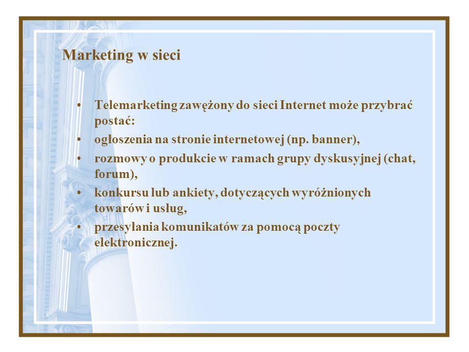 Marketing internetowy (marketing wirtualny, e- marketing) to kompleks działań informacyjnych podejmowanych w celu zaspokojenia potrzeb indywidualnych oraz zbiorowych (instytucjonalnych) w przestrzeni rynku elektronicznego, przy pomocy technologii informatycznych w celu uzyskania, chwilowej nawet, przewagi konkurencyjnej i osiągnięcia dodatkowych zysków przez organizacje działające nie tylko na rynku wirtualnym