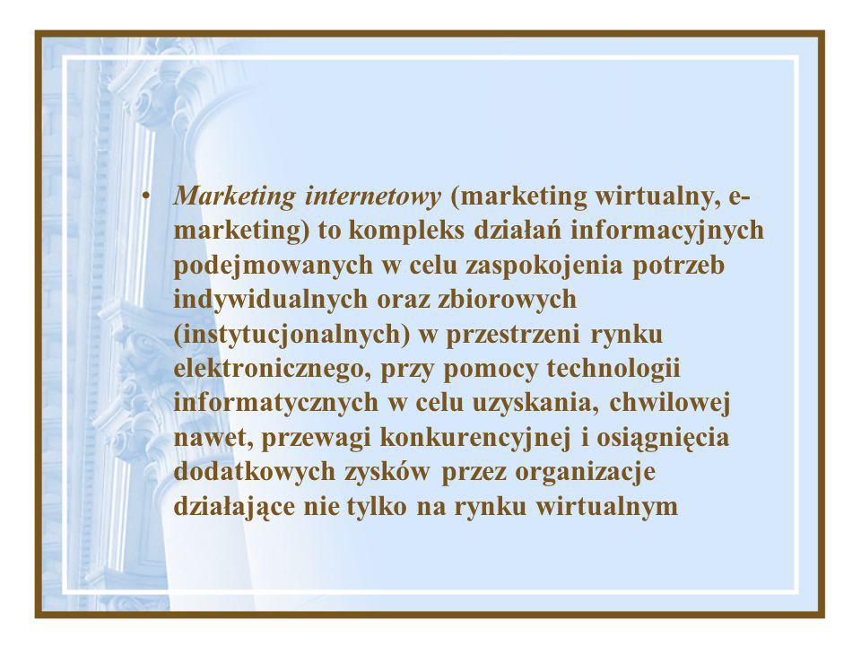 Marketing internetowy (marketing wirtualny, e- marketing) to kompleks działań informacyjnych podejmowanych w celu zaspokojenia potrzeb indywidualnych