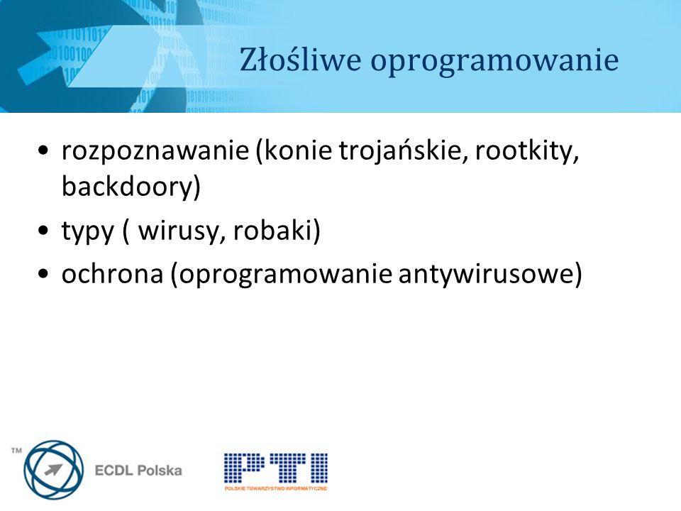 Złośliwe oprogramowanie rozpoznawanie (konie trojańskie, rootkity, backdoory) typy ( wirusy, robaki) ochrona (oprogramowanie antywirusowe)