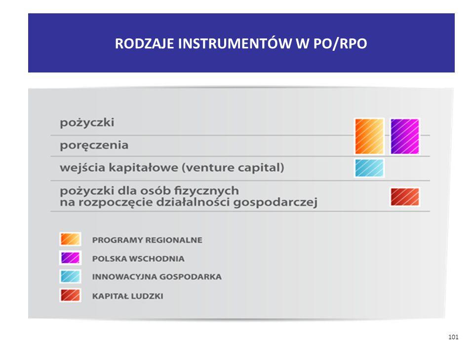 RODZAJE INSTRUMENTÓW W PO/RPO 101