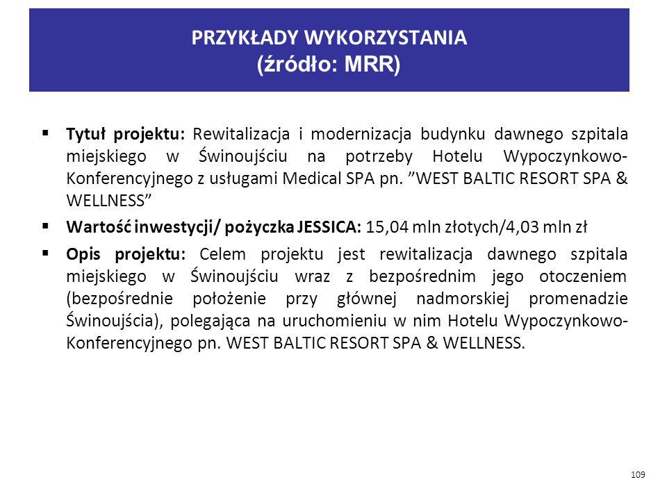  Tytuł projektu: Rewitalizacja i modernizacja budynku dawnego szpitala miejskiego w Świnoujściu na potrzeby Hotelu Wypoczynkowo- Konferencyjnego z usługami Medical SPA pn.
