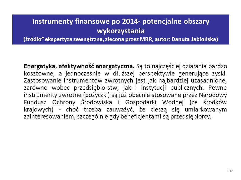 113 Instrumenty finansowe po 2014- potencjalne obszary wykorzystania (źródło ekspertyza zewnętrzna, zlecona przez MRR, autor: Danuta Jabłońska) Energetyka, efektywność energetyczna.
