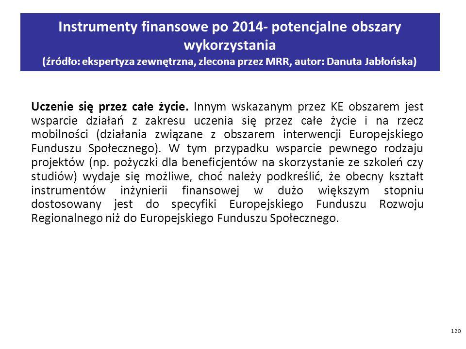 120 Instrumenty finansowe po 2014- potencjalne obszary wykorzystania (źródło: ekspertyza zewnętrzna, zlecona przez MRR, autor: Danuta Jabłońska) Uczenie się przez całe życie.
