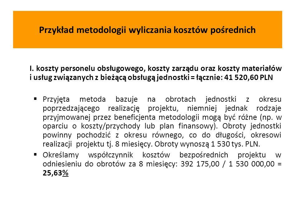 I. koszty personelu obsługowego, koszty zarządu oraz koszty materiałów i usług związanych z bieżącą obsługą jednostki = łącznie: 41 520,60 PLN  Przyj