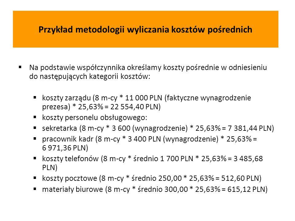  Na podstawie współczynnika określamy koszty pośrednie w odniesieniu do następujących kategorii kosztów:  koszty zarządu (8 m-cy * 11 000 PLN (faktyczne wynagrodzenie prezesa) * 25,63% = 22 554,40 PLN)  koszty personelu obsługowego:  sekretarka (8 m-cy * 3 600 (wynagrodzenie) * 25,63% = 7 381,44 PLN)  pracownik kadr (8 m-cy * 3 400 PLN (wynagrodzenie) * 25,63% = 6 971,36 PLN)  koszty telefonów (8 m-cy * średnio 1 700 PLN * 25,63% = 3 485,68 PLN)  koszty pocztowe (8 m-cy * średnio 250,00 * 25,63% = 512,60 PLN)  materiały biurowe (8 m-cy * średnio 300,00 * 25,63% = 615,12 PLN) Przykład metodologii wyliczania kosztów pośrednich