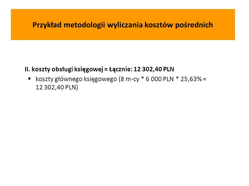 II. koszty obsługi księgowej = Łącznie: 12 302,40 PLN  koszty głównego księgowego (8 m-cy * 6 000 PLN * 25,63% = 12 302,40 PLN) Przykład metodologii