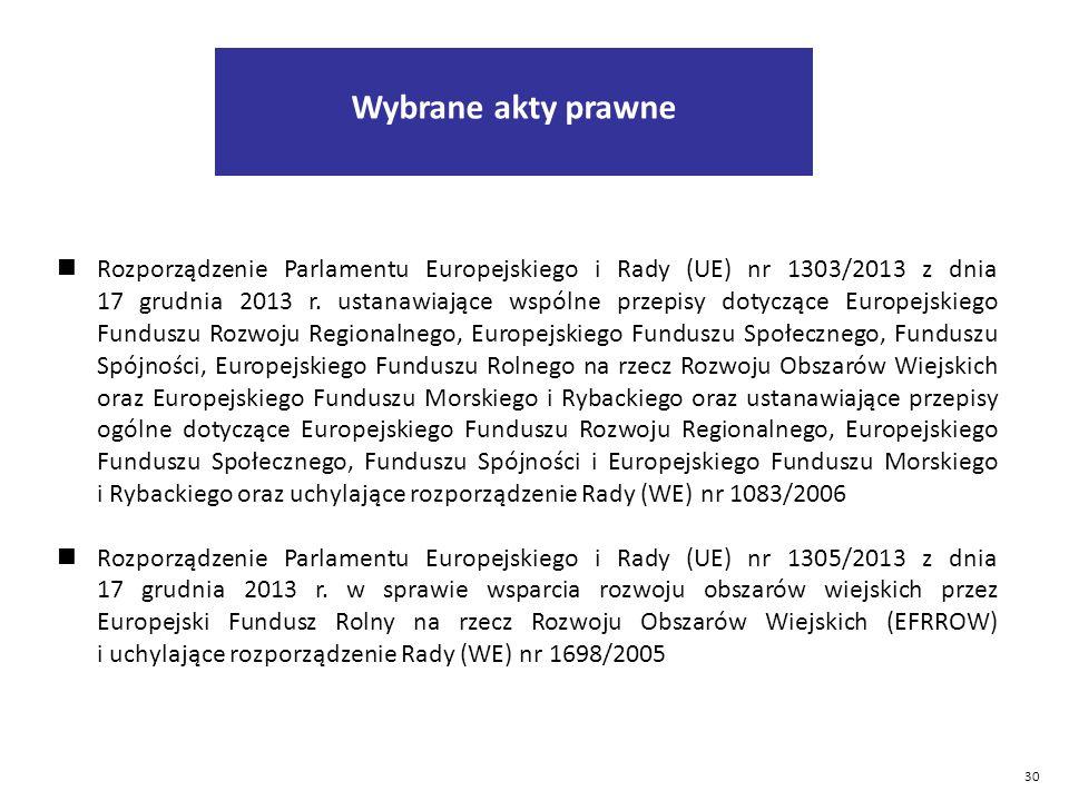 30 Rozporządzenie Parlamentu Europejskiego i Rady (UE) nr 1303/2013 z dnia 17 grudnia 2013 r.