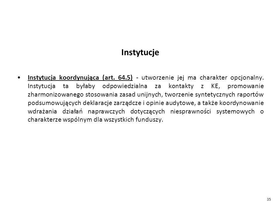 35 Instytucje Instytucja koordynująca (art.64.5) - utworzenie jej ma charakter opcjonalny.