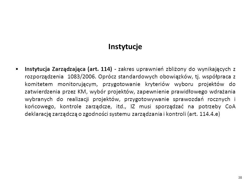 38 Instytucje Instytucja Zarządzająca (art.