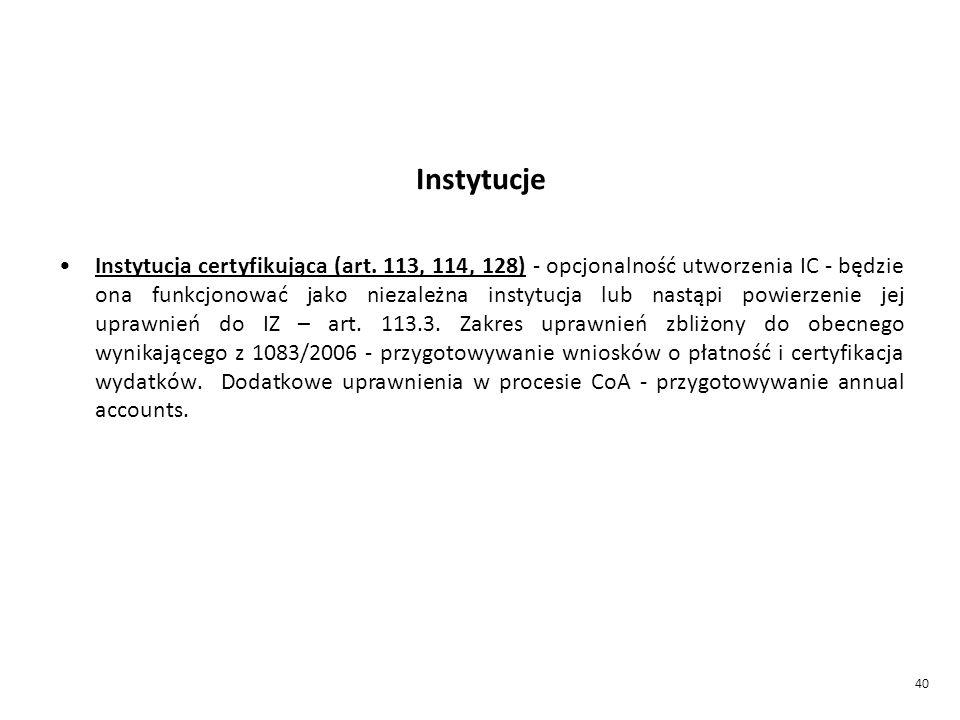 40 Instytucje Instytucja certyfikująca (art.