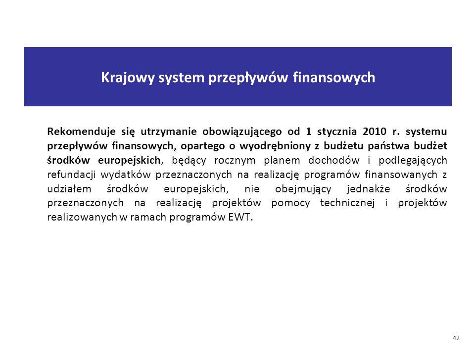 42 Krajowy system przepływów finansowych Rekomenduje się utrzymanie obowiązującego od 1 stycznia 2010 r.
