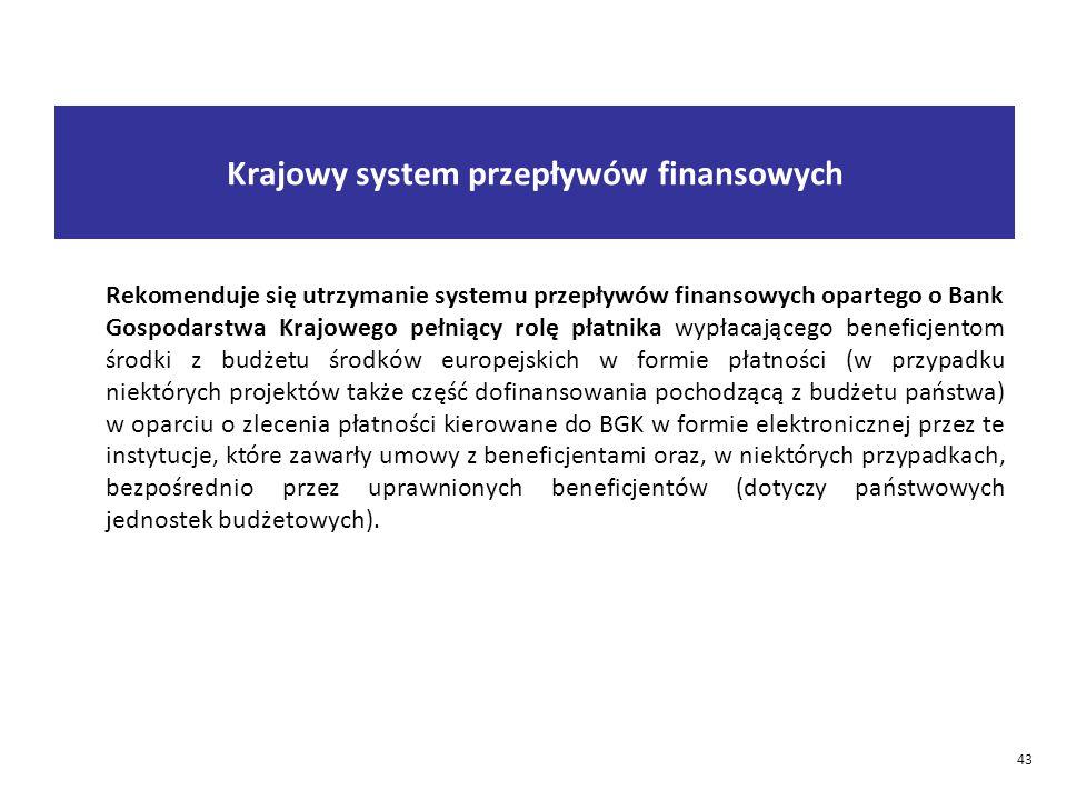 43 Rekomenduje się utrzymanie systemu przepływów finansowych opartego o Bank Gospodarstwa Krajowego pełniący rolę płatnika wypłacającego beneficjentom środki z budżetu środków europejskich w formie płatności (w przypadku niektórych projektów także część dofinansowania pochodzącą z budżetu państwa) w oparciu o zlecenia płatności kierowane do BGK w formie elektronicznej przez te instytucje, które zawarły umowy z beneficjentami oraz, w niektórych przypadkach, bezpośrednio przez uprawnionych beneficjentów (dotyczy państwowych jednostek budżetowych).
