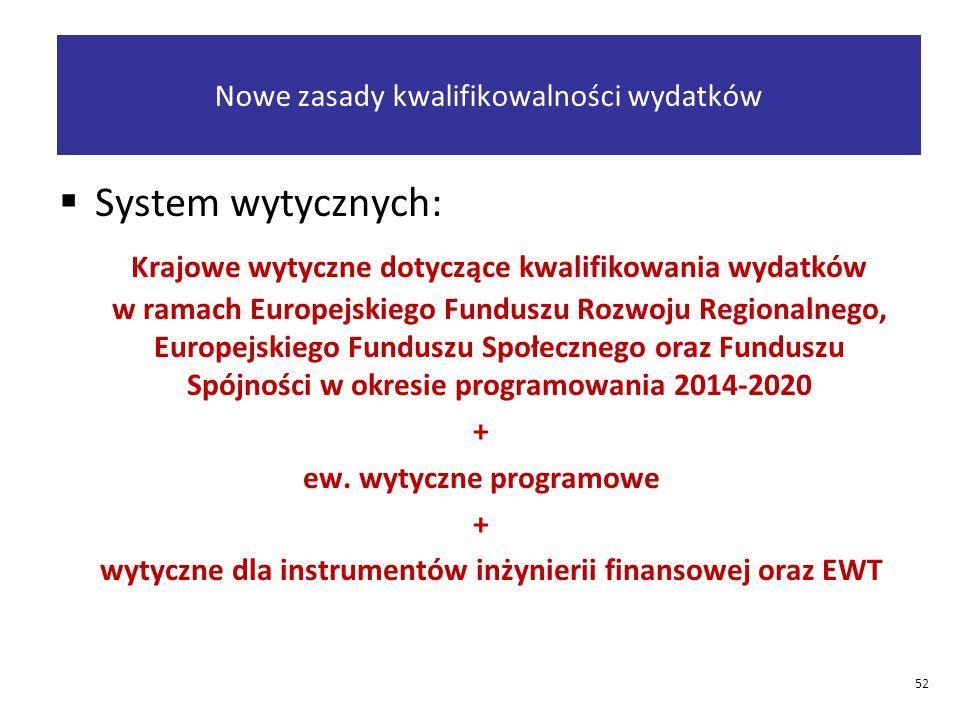 Nowe zasady kwalifikowalności wydatków  System wytycznych: Krajowe wytyczne dotyczące kwalifikowania wydatków w ramach Europejskiego Funduszu Rozwoju Regionalnego, Europejskiego Funduszu Społecznego oraz Funduszu Spójności w okresie programowania 2014-2020 + ew.