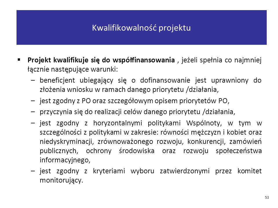  Projekt kwalifikuje się do współfinansowania, jeżeli spełnia co najmniej łącznie następujące warunki: –beneficjent ubiegający się o dofinansowanie jest uprawniony do złożenia wniosku w ramach danego priorytetu /działania, –jest zgodny z PO oraz szczegółowym opisem priorytetów PO, –przyczynia się do realizacji celów danego priorytetu /działania, –jest zgodny z horyzontalnymi politykami Wspólnoty, w tym w szczególności z politykami w zakresie: równości mężczyzn i kobiet oraz niedyskryminacji, zrównoważonego rozwoju, konkurencji, zamówień publicznych, ochrony środowiska oraz rozwoju społeczeństwa informacyjnego, –jest zgodny z kryteriami wyboru zatwierdzonymi przez komitet monitorujący.