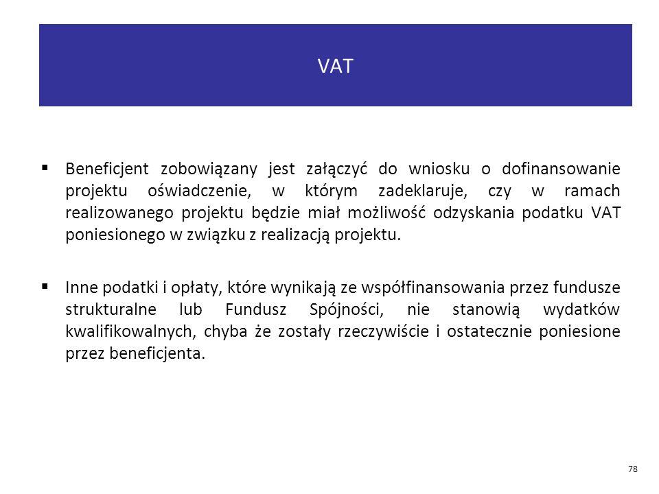  Beneficjent zobowiązany jest załączyć do wniosku o dofinansowanie projektu oświadczenie, w którym zadeklaruje, czy w ramach realizowanego projektu będzie miał możliwość odzyskania podatku VAT poniesionego w związku z realizacją projektu.