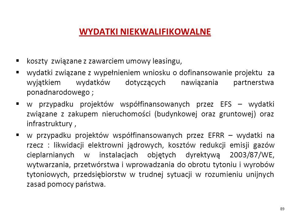 WYDATKI NIEKWALIFIKOWALNE  koszty związane z zawarciem umowy leasingu,  wydatki związane z wypełnieniem wniosku o dofinansowanie projektu za wyjątkiem wydatków dotyczących nawiązania partnerstwa ponadnarodowego ;  w przypadku projektów współfinansowanych przez EFS – wydatki związane z zakupem nieruchomości (budynkowej oraz gruntowej) oraz infrastruktury,  w przypadku projektów współfinansowanych przez EFRR – wydatki na rzecz : likwidacji elektrowni jądrowych, kosztów redukcji emisji gazów cieplarnianych w instalacjach objętych dyrektywą 2003/87/WE, wytwarzania, przetwórstwa i wprowadzania do obrotu tytoniu i wyrobów tytoniowych, przedsiębiorstw w trudnej sytuacji w rozumieniu unijnych zasad pomocy państwa.