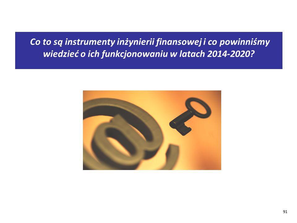 91 Co to są instrumenty inżynierii finansowej i co powinniśmy wiedzieć o ich funkcjonowaniu w latach 2014-2020.