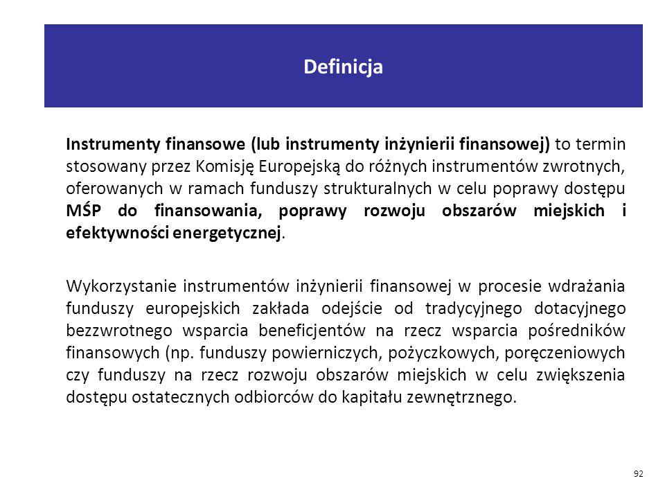 Definicja Instrumenty finansowe (lub instrumenty inżynierii finansowej) to termin stosowany przez Komisję Europejską do różnych instrumentów zwrotnych, oferowanych w ramach funduszy strukturalnych w celu poprawy dostępu MŚP do finansowania, poprawy rozwoju obszarów miejskich i efektywności energetycznej.