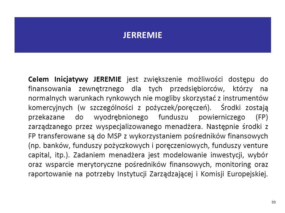 JERREMIE Celem Inicjatywy JEREMIE jest zwiększenie możliwości dostępu do finansowania zewnętrznego dla tych przedsiębiorców, którzy na normalnych warunkach rynkowych nie mogliby skorzystać z instrumentów komercyjnych (w szczególności z pożyczek/poręczeń).