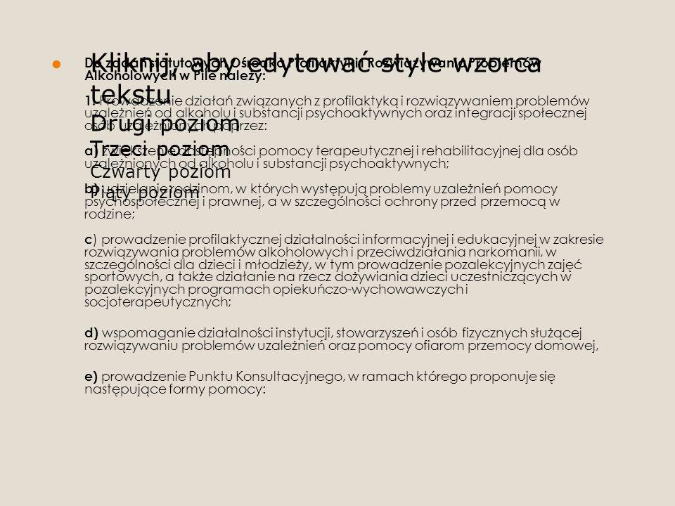 Kliknij, aby edytować style wzorca tekstu Drugi poziom Trzeci poziom Czwarty poziom Piąty poziom Do zadań statutowych Ośrodka Profilaktyki i Rozwiązyw