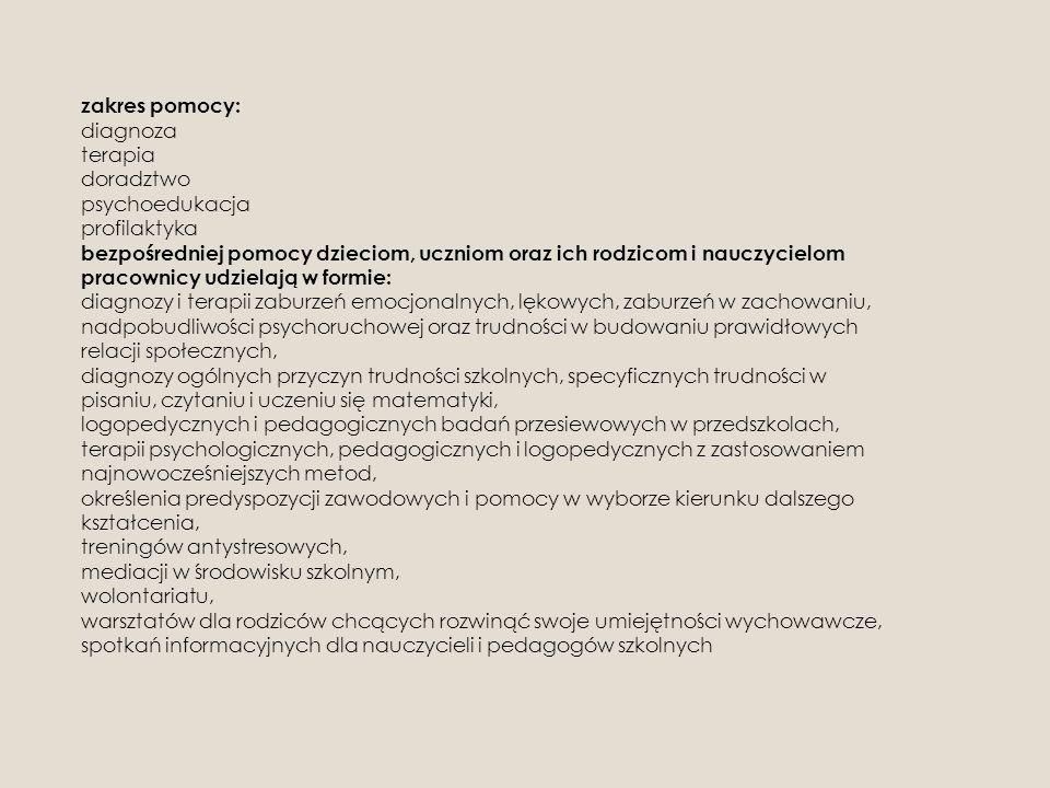 zakres pomocy: diagnoza terapia doradztwo psychoedukacja profilaktyka bezpośredniej pomocy dzieciom, uczniom oraz ich rodzicom i nauczycielom pracownicy udzielają w formie: diagnozy i terapii zaburzeń emocjonalnych, lękowych, zaburzeń w zachowaniu, nadpobudliwości psychoruchowej oraz trudności w budowaniu prawidłowych relacji społecznych, diagnozy ogólnych przyczyn trudności szkolnych, specyficznych trudności w pisaniu, czytaniu i uczeniu się matematyki, logopedycznych i pedagogicznych badań przesiewowych w przedszkolach, terapii psychologicznych, pedagogicznych i logopedycznych z zastosowaniem najnowocześniejszych metod, określenia predyspozycji zawodowych i pomocy w wyborze kierunku dalszego kształcenia, treningów antystresowych, mediacji w środowisku szkolnym, wolontariatu, warsztatów dla rodziców chcących rozwinąć swoje umiejętności wychowawcze, spotkań informacyjnych dla nauczycieli i pedagogów szkolnych