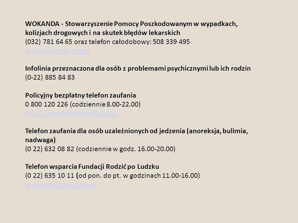 WOKANDA - Stowarzyszenie Pomocy Poszkodowanym w wypadkach, kolizjach drogowych i na skutek błędów lekarskich (032) 781 64 65 oraz telefon całodobowy: