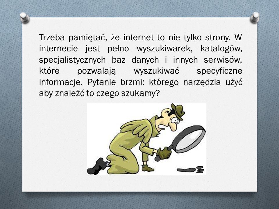 Trzeba pamiętać, że internet to nie tylko strony. W internecie jest pełno wyszukiwarek, katalogów, specjalistycznych baz danych i innych serwisów, któ