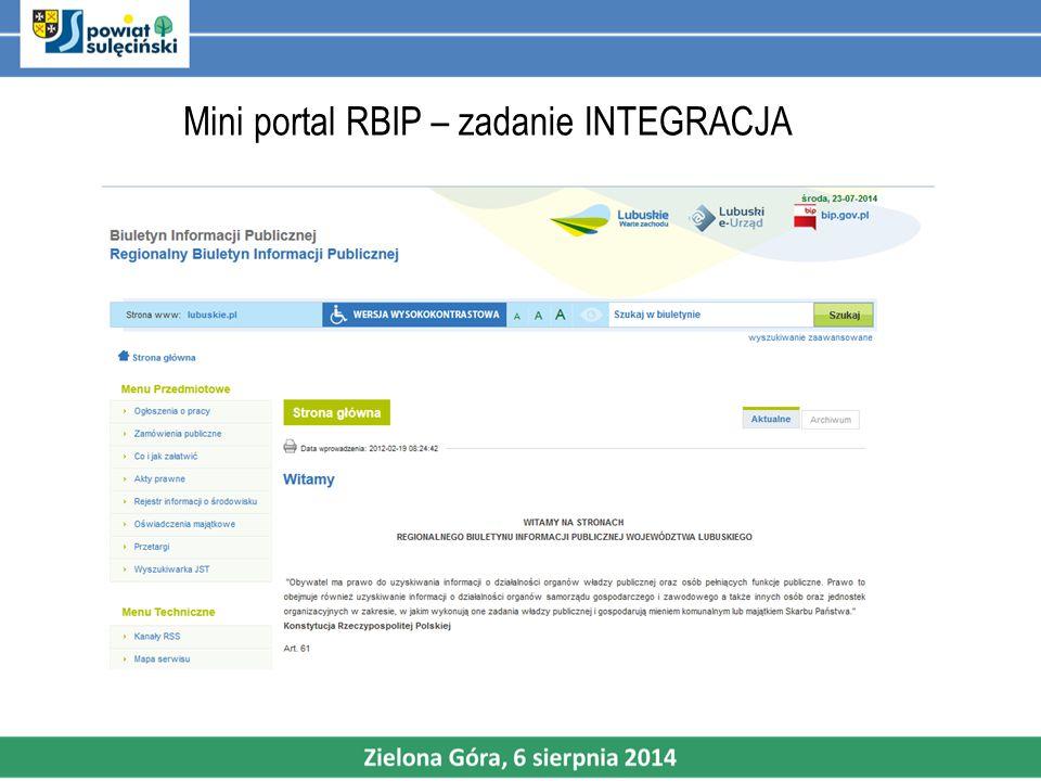 Mini portal RBIP– zadanie INTEGRACJA