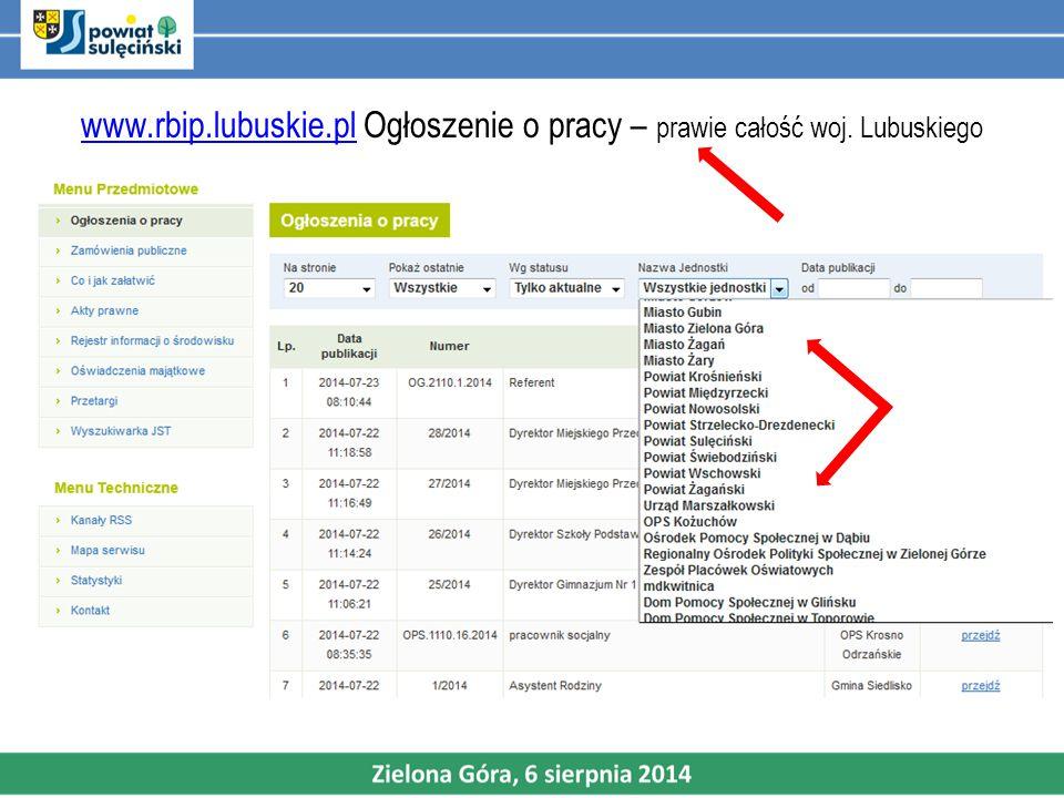 www.rbip.lubuskie.plwww.rbip.lubuskie.pl Ogłoszenie o pracy – prawie całość woj. Lubuskiego