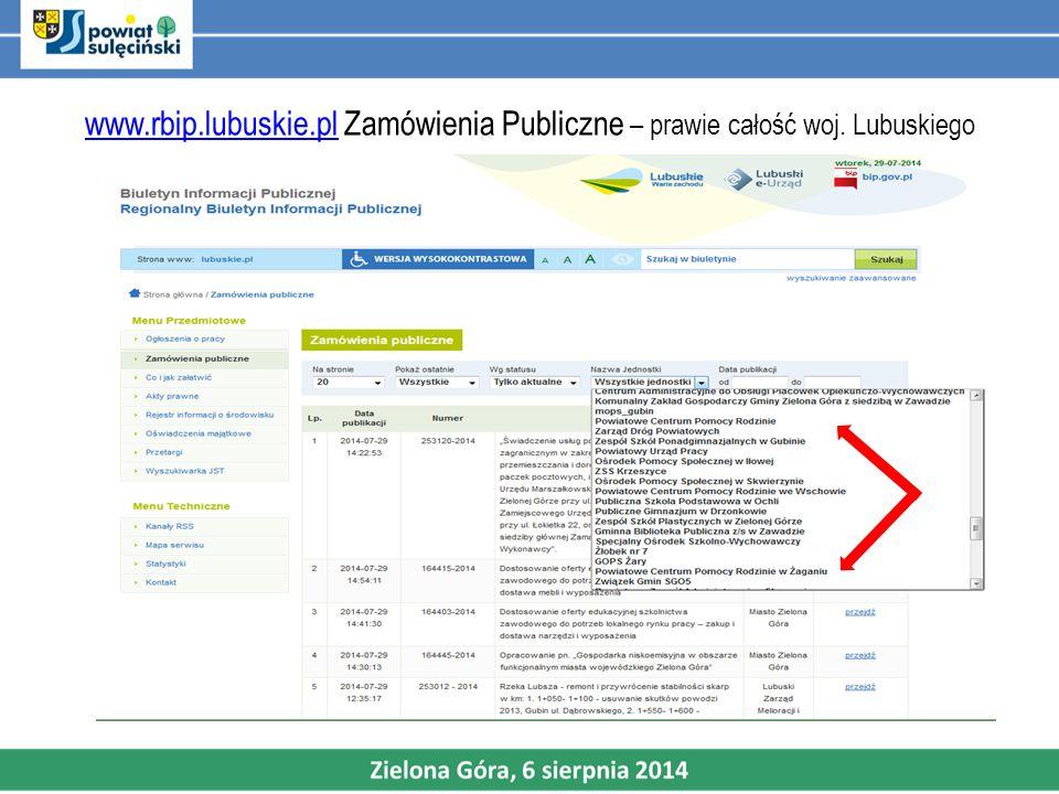 www.rbip.lubuskie.plwww.rbip.lubuskie.pl Zamówienia Publiczne – prawie całość woj. Lubuskiego