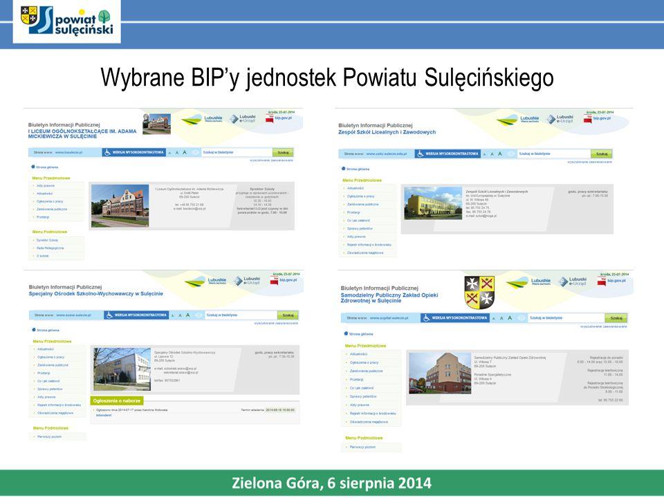 Wybrane BIP'y jednostek Powiatu Sulęcińskiego