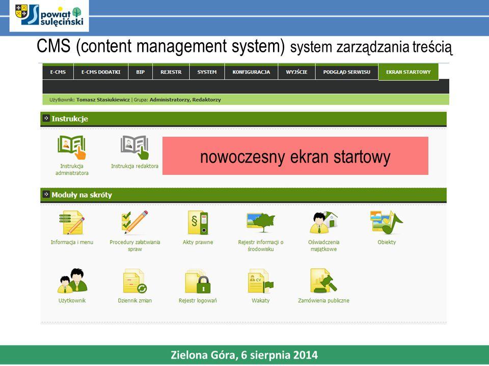 CMS (content management system) system zarządzania treścią nowoczesny ekran startowy