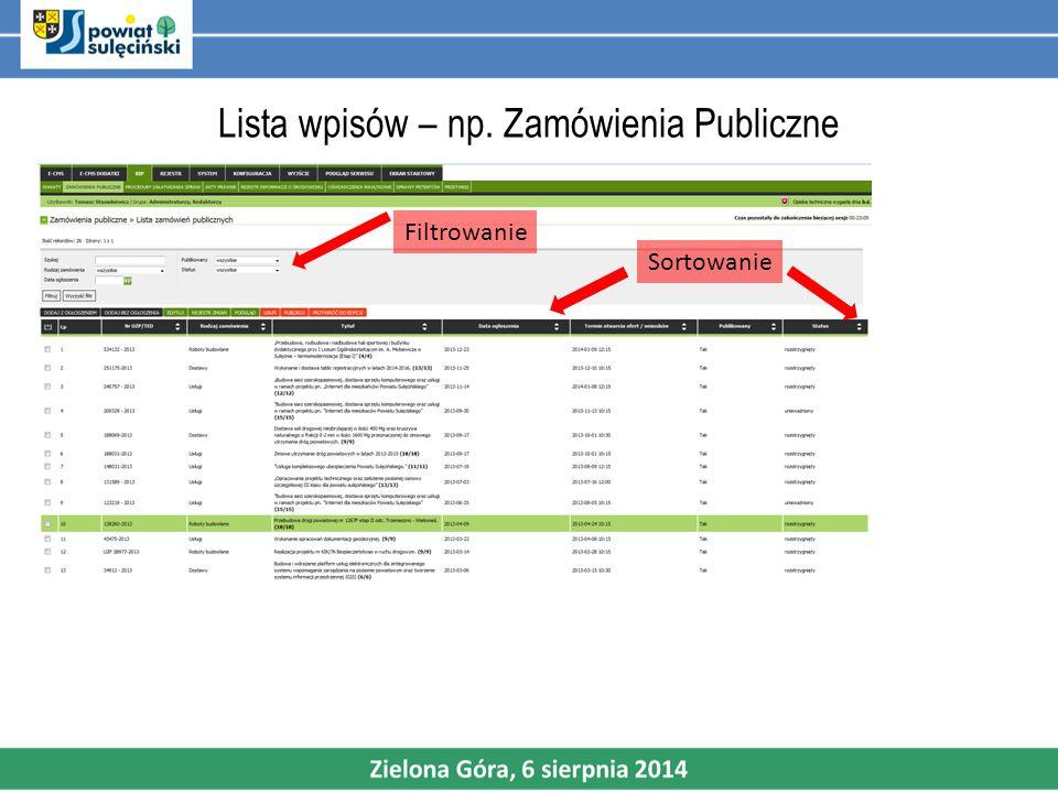 Lista wpisów – np. Zamówienia Publiczne Filtrowanie Sortowanie