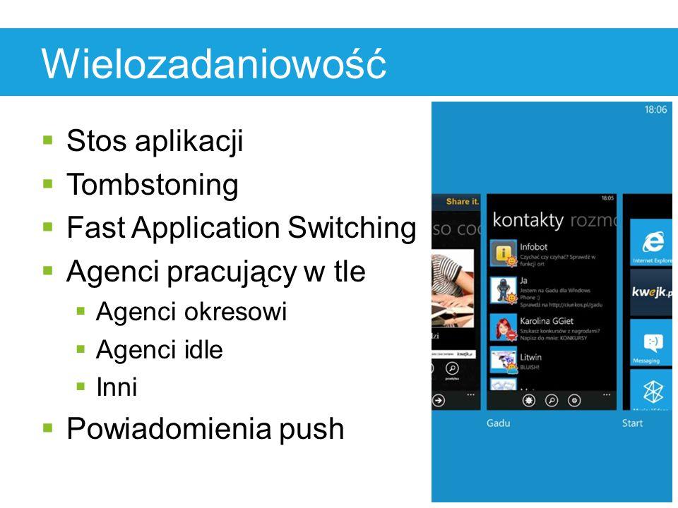 Wielozadaniowość  Stos aplikacji  Tombstoning  Fast Application Switching  Agenci pracujący w tle  Agenci okresowi  Agenci idle  Inni  Powiadomienia push