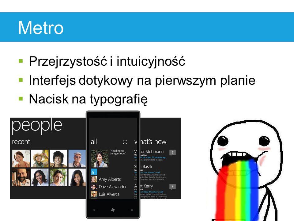 Metro  Przejrzystość i intuicyjność  Interfejs dotykowy na pierwszym planie  Nacisk na typografię