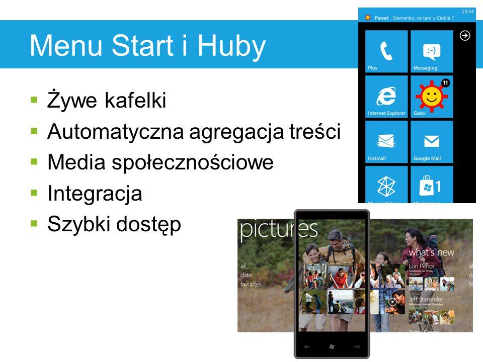 Menu Start i Huby  Żywe kafelki  Automatyczna agregacja treści  Media społecznościowe  Integracja  Szybki dostęp